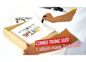 COMBO Bìa Mica trong suốt + Hộp gỗ nắp Mica