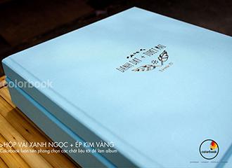 Album Photobook Phóng sự cưới bìa vải xanh ngọc